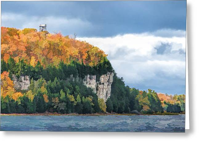 Door County Greeting Cards - Door County Peninsula State Park Bluff Panorama Greeting Card by Christopher Arndt