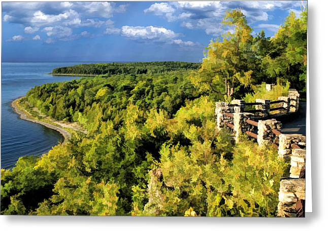 Door County Peninsula State Park Svens Bluff Overlook Greeting Card by Christopher Arndt