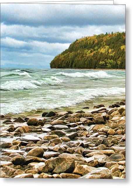 Gloom Greeting Cards - Door County Porcupine Bay Waves Greeting Card by Christopher Arndt
