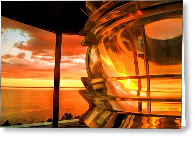 Rock Island Greeting Cards - Door County Pottawatomie Lighthouse Sunrise Rock Island Greeting Card by Christopher Arndt