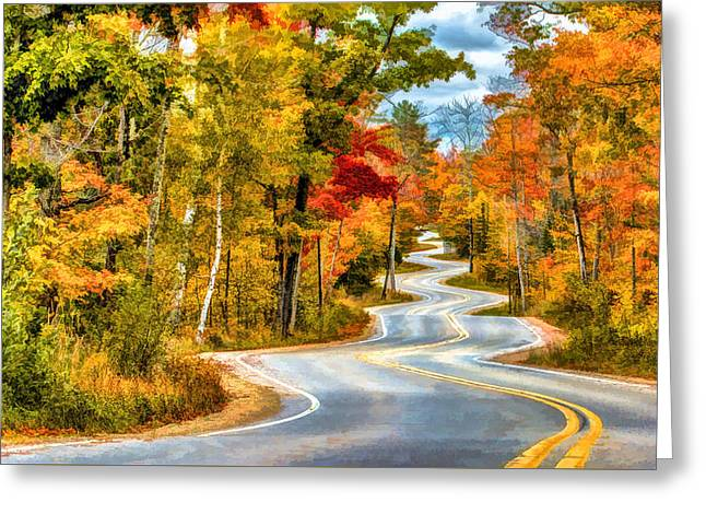 Highway Greeting Cards - Door County Road to Northport in Autumn Greeting Card by Christopher Arndt