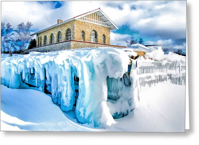 Rock Island Greeting Cards - Door County Rock Island Chester Thordarson Boathouse Greeting Card by Christopher Arndt