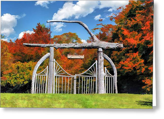 Rock Island Greeting Cards - Door County Rock Island Japanese Garden Gate Greeting Card by Christopher Arndt