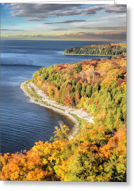 Peninsula State Park Greeting Cards - Door County Svens Bluff Scenic Overlook Greeting Card by Christopher Arndt