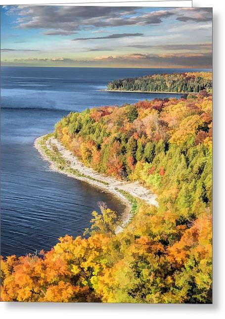 Door County Greeting Cards - Door County Svens Bluff Scenic Overlook Greeting Card by Christopher Arndt