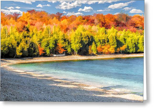 School Houses Paintings Greeting Cards - Door County Washington Island School House Beach Greeting Card by Christopher Arndt