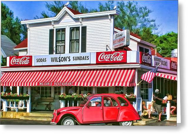 Cola Greeting Cards - Door County Wilsons Restaurant and Ice Cream Parlor Greeting Card by Christopher Arndt
