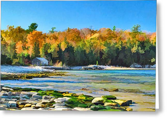 Door County Wisconsin Bay Panorama Greeting Card by Christopher Arndt