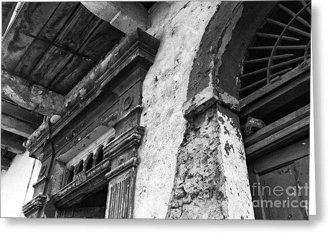 Old Door Print Greeting Cards - Door Details mono Greeting Card by John Rizzuto