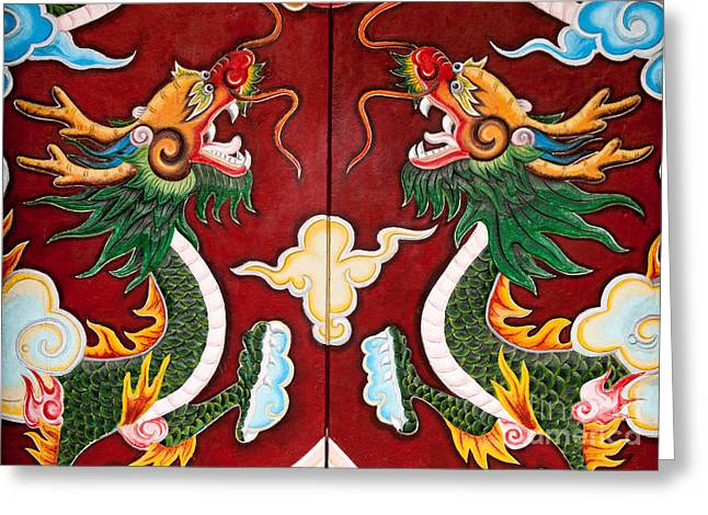 Quan Greeting Cards - Door Dragons 03 Greeting Card by Rick Piper Photography