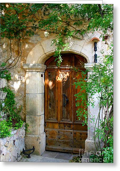 French Doors Greeting Cards - Door, France Greeting Card by Holly C. Freeman
