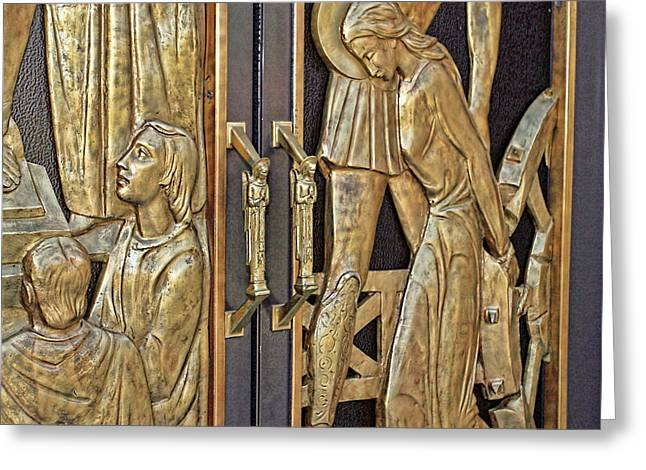 Engraving Greeting Cards - Door Handles Greeting Card by Geraldine Scull
