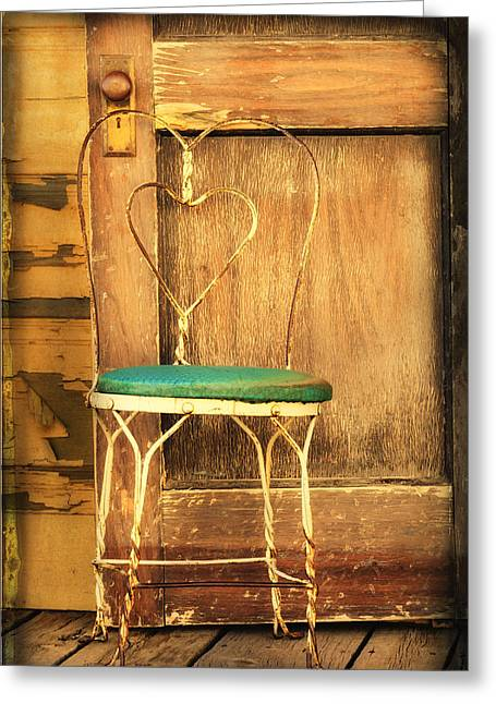 Turquoise And Rust Greeting Cards - Empty Chair Greeting Card by Sue Eberhart