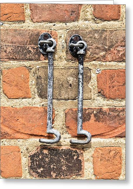 Latch Greeting Cards - Door hooks Greeting Card by Tom Gowanlock