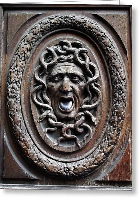A Morddel Photographs Greeting Cards - Door in Paris Medusa Greeting Card by A Morddel