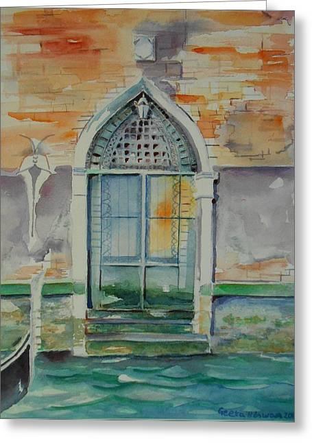 Venetian Door Greeting Cards - Door in Venice-Italy Greeting Card by Geeta Biswas