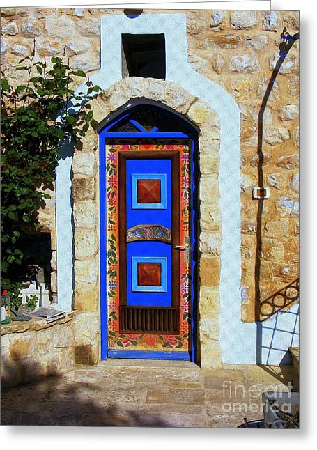 Historic Home Greeting Cards - Door in Zefat Greeting Card by Noa Yerushalmi