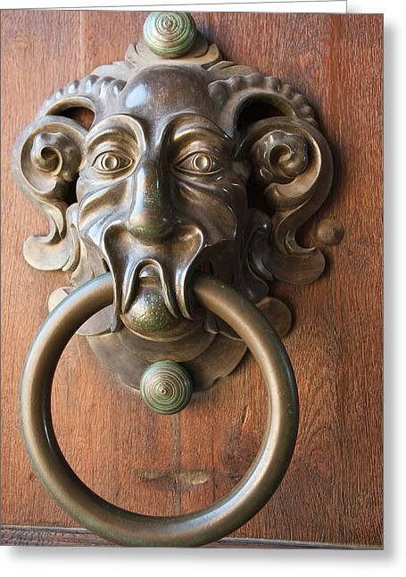 Door Knocker At The Neue Residenz (new Greeting Card by Michael Defreitas