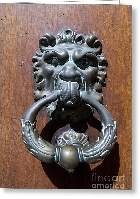 Wood Grain Greeting Cards - Door knocker Greeting Card by Bernard Jaubert
