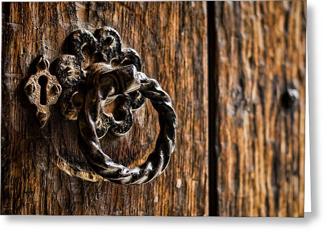 Door Knocker Greeting Card by Heather Applegate