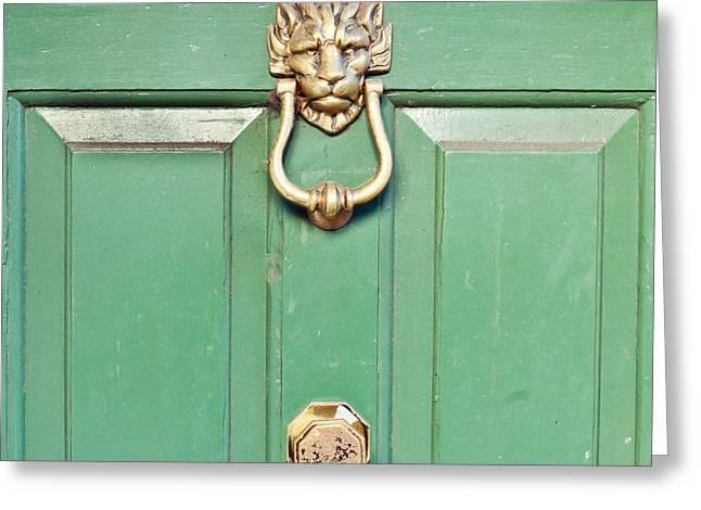 Medieval Entrance Greeting Cards - Door knocker Greeting Card by Tom Gowanlock