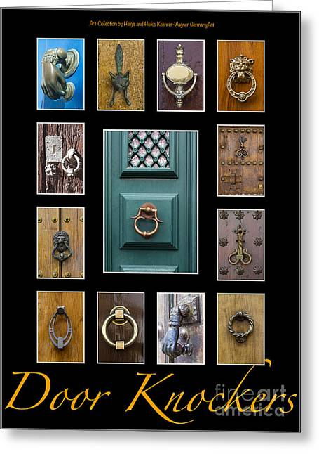 Entrance Door Greeting Cards - Door Knockers 1 Greeting Card by Heiko Koehrer-Wagner
