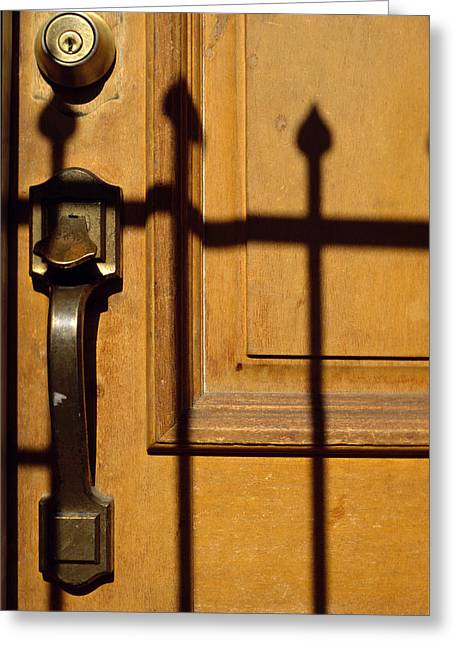 Endorsing Greeting Cards - Door Latch Greeting Card by Mark Goebel