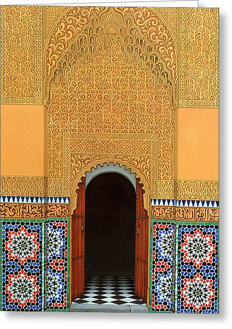 Marrakesh Greeting Cards - Door, Marrakech, 1998 Acrylic On Linen Greeting Card by Larry Smart