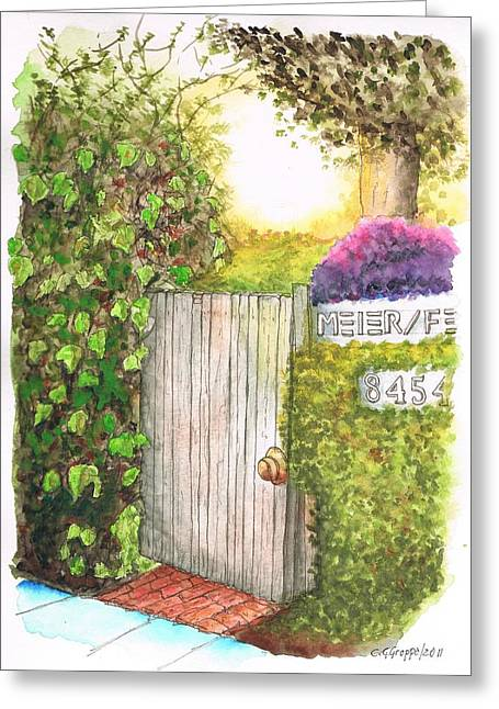 Acuarelas Greeting Cards - Door Meir Studio Melrose Place - Los Angeles - California Greeting Card by Carlos G Groppa