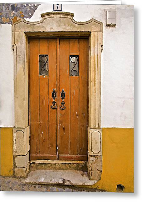 Entranceway Greeting Cards - Door Number Seven Greeting Card by David Letts