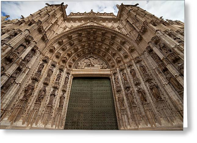 Sculpture Relief Greeting Cards - Door of Assumption of the Seville Cathedral Greeting Card by Artur Bogacki