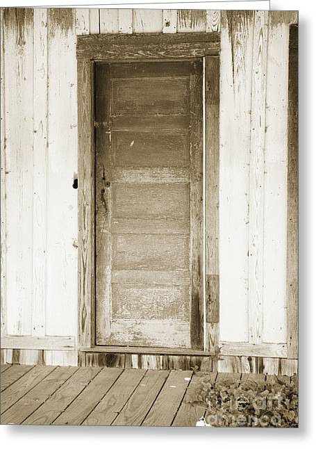 Framed Old Door Print Greeting Cards - Door on Old House in Sepia black and White 3004.01 Greeting Card by M K  Miller