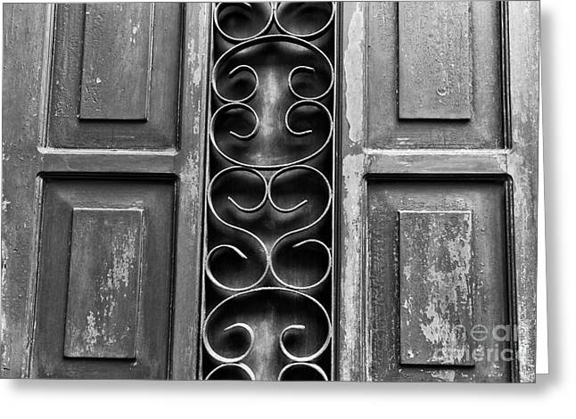 Old Door Print Greeting Cards - Door Patterns in Casco Viejo mono Greeting Card by John Rizzuto