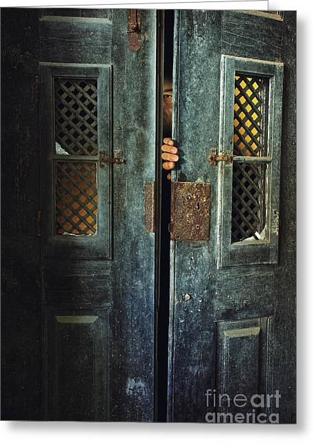 Opening Greeting Cards - Door Peeking Greeting Card by Carlos Caetano