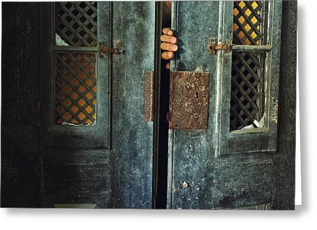 Door Peeking Greeting Card by Carlos Caetano