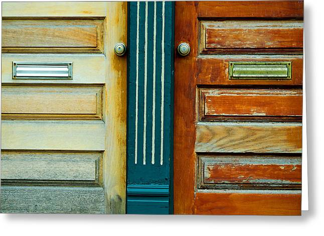 Km Corcoran Greeting Cards - Door to Door Greeting Card by KM Corcoran