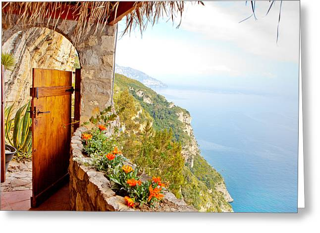 Cliff Greeting Cards - Door to Paradise Greeting Card by Susan  Schmitz