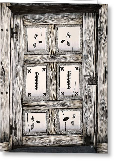Wooden Building Drawings Greeting Cards - Door to the Unknown Greeting Card by Melissa Smith