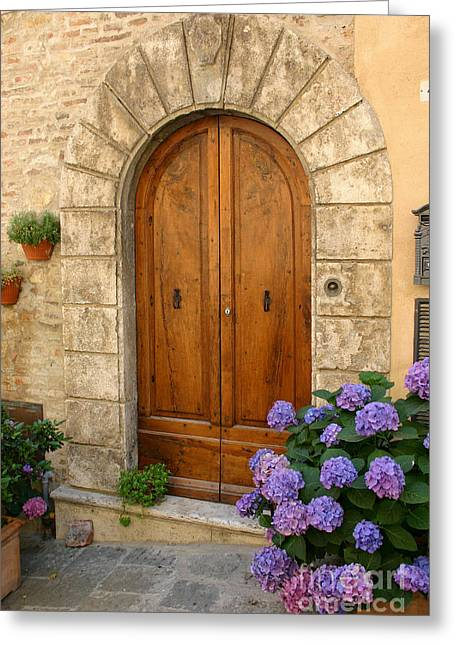 Entrance Door Greeting Cards - Door, Tuscany Greeting Card by Holly C. Freeman