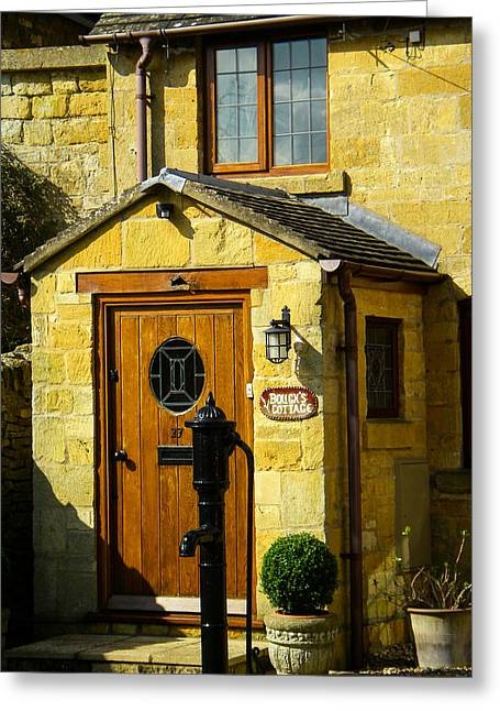 Geobob Greeting Cards - Door Windows and Entryway to a Historic old Cottage in Broadway Village Cotswold District England Greeting Card by Robert Ford