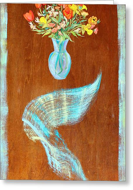 Fine Art Prints Sculptures Greeting Cards - Floating Bouquet Door  Greeting Card by Asha Carolyn Young
