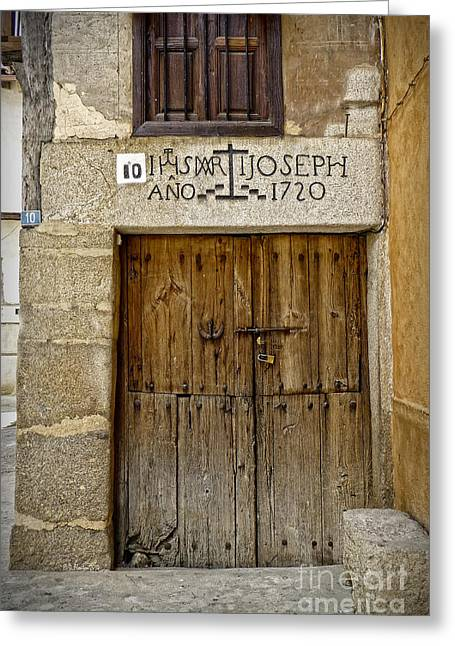 Medieval Entrance Digital Greeting Cards - Door Year 1720 Greeting Card by Dee Flouton