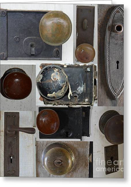 Mechanism Greeting Cards - Doorknob Collage Greeting Card by Meandering Photography