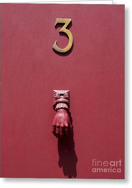 Door Knob Greeting Cards - Doorknocker and number three on a red door. France. Europe. Greeting Card by Bernard Jaubert