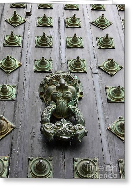 Wooden Sculpture Greeting Cards - Doorknocker Greeting Card by James Brunker