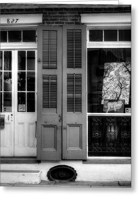 French Doors Greeting Cards - Doors and Window in Black and White Greeting Card by Chrystal Mimbs
