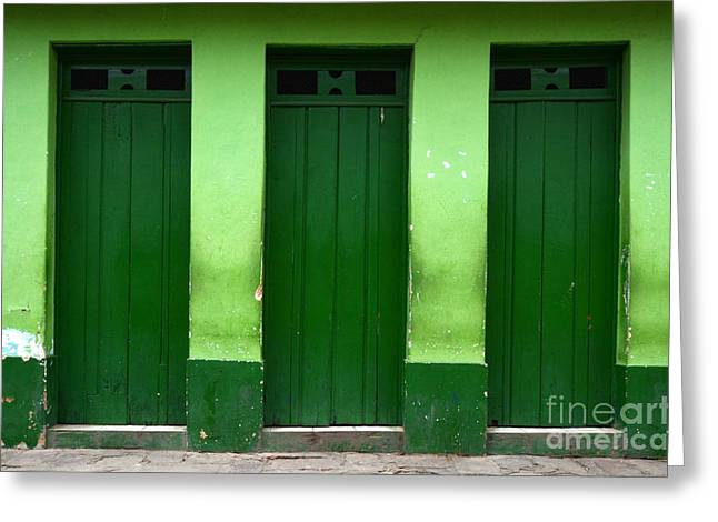 Old Door Greeting Cards - Doors And Windows Lencois Brazil 1 Greeting Card by Bob Christopher