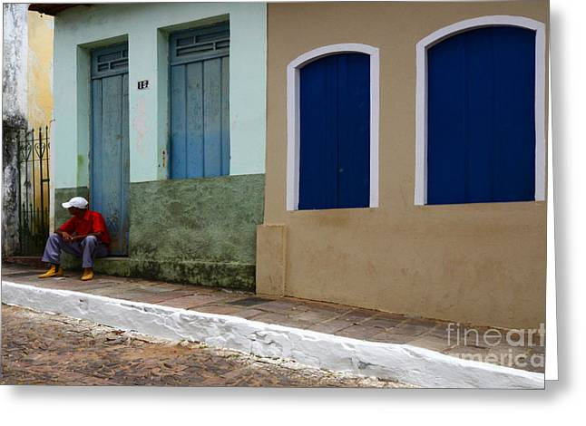 Old Door Greeting Cards - Doors and Windows Lencois Brazil 3 Greeting Card by Bob Christopher
