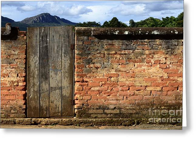 Old Door Greeting Cards - Doors And Windows Minas Gerais State Brazil 6 Greeting Card by Bob Christopher