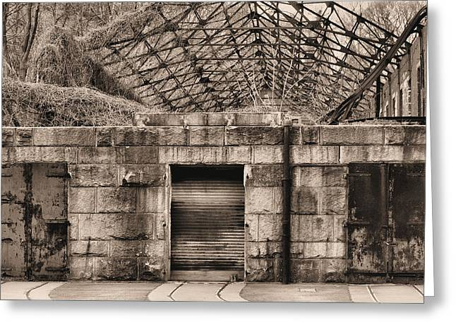 Armory Greeting Cards - Doors BW Greeting Card by JC Findley